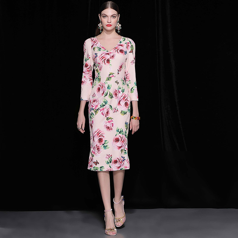 Truevoker Autumn Designer Dress Women s Elegant 3 4 Sleeve Elegant Flower Printed  Plus Size 2XL Pencil Vestidos a3e4e7d128ac