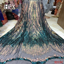 Nigerian Lace Fabrics 5yard 3D Sequins lace fabric net 2019 Sequins, green for haute couture dress F2197