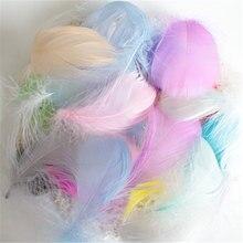 Натуральные гусиные перья 4-8 см, цветные перья лебедя, шлейф для украшения дома, Рукоделие, сделай сам, Ювелирное Украшение, 50 шт