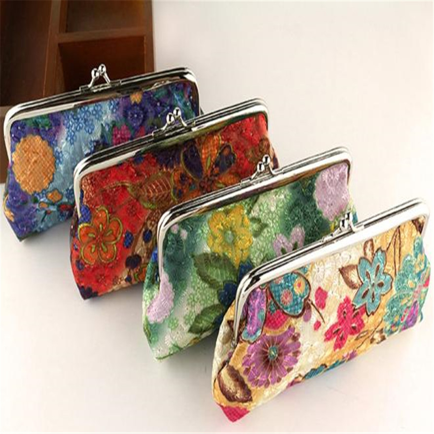 Women Lady Retro Vintage Flower Small Wallet Hasp Purse Clutch Bag Lightweight Portable Coin Purse Cash Bags porte monnaie