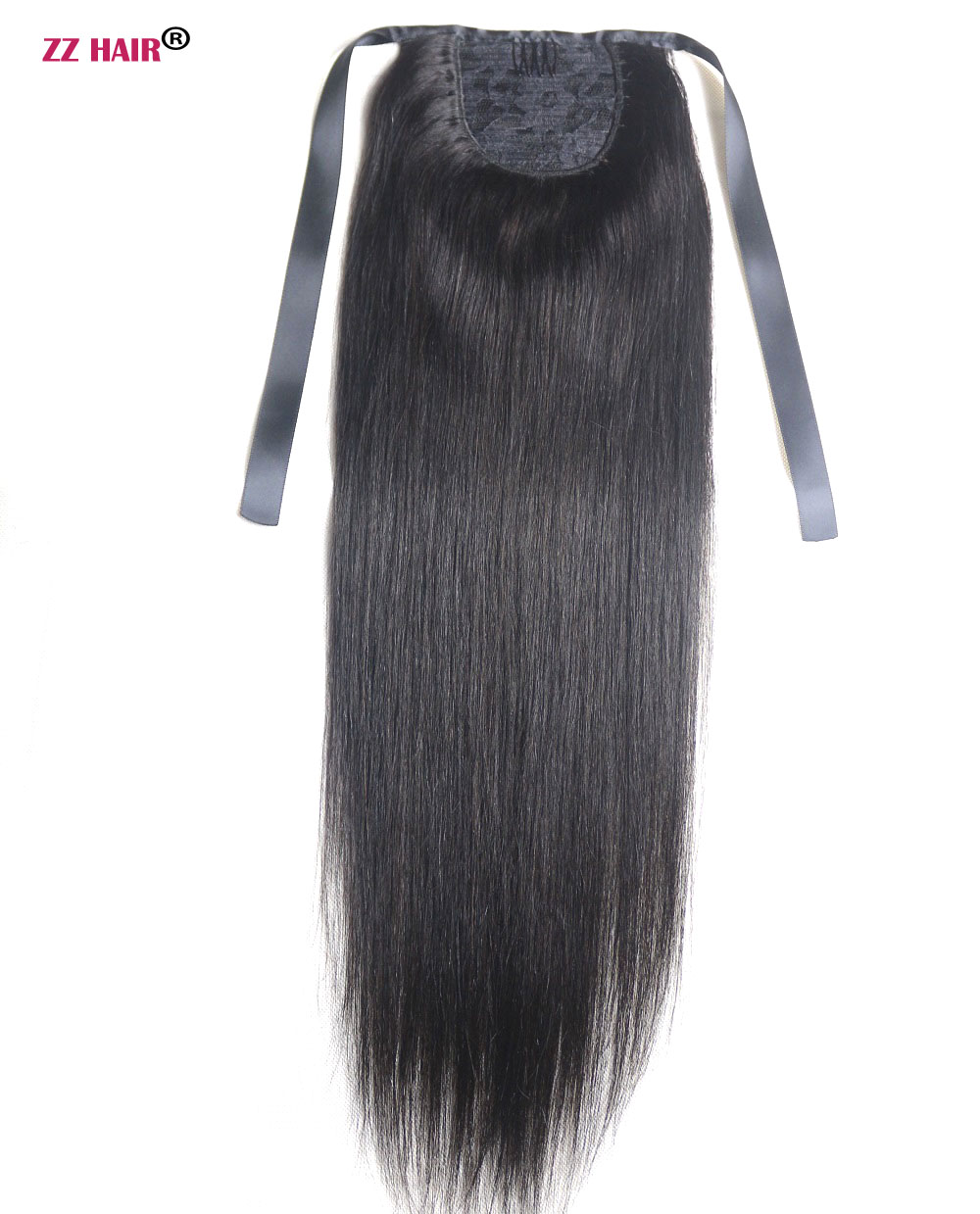 ZZHAIR 100g 16-26 Machine Made Remy Hair Ribbon Ponytail Clips-in Human Hair Extensions Horsetail Natural Straight Hair ...