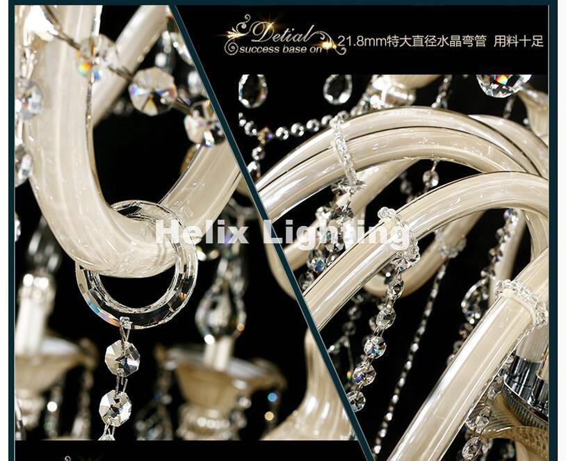 Champagne Whitel D150cm H200cm 32 Arms E14 LED Royal Crystal - Inomhusbelysning - Foto 6