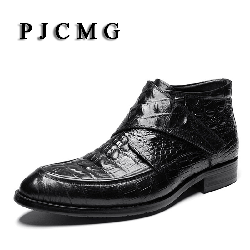 PJCMG Mode Krokodil Patroon Ademend Hoge Kwaliteit Lederen Laarzen Klittenband Puntschoen Oxford Enkellaarsjes Voor Mannen - 3