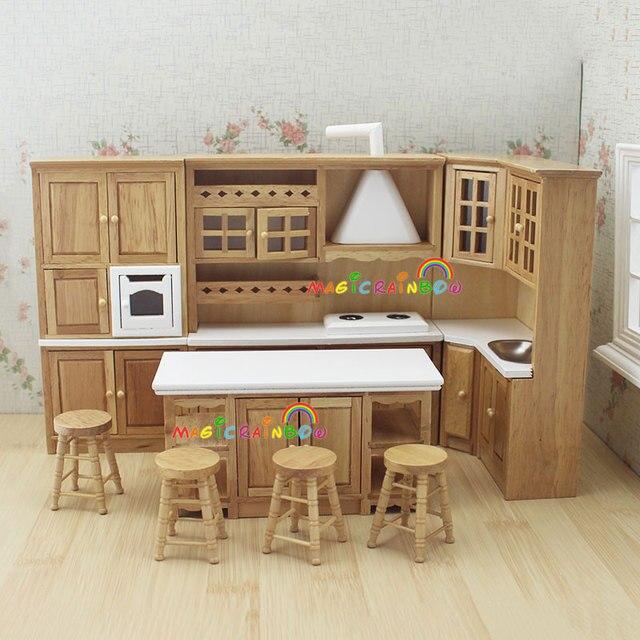 maison de poup e meubles de cuisine en bois jouets hotte cabinet vier chiars ensemble 1 12. Black Bedroom Furniture Sets. Home Design Ideas