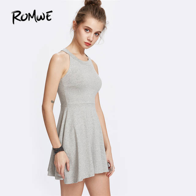 b1aed9b3751c Online Shop ROMWE Summer Dresses Casual Womens Dresses New Design Ladies Grey  Halter Sleeveless A-Line Flare Skater Dress