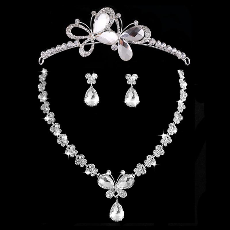 New Wedding Jewellery Set Austrian Crystal Bridal Jewelry Sets For Women Long Tassel Statement NecklaceEarrings Set Crown (10)