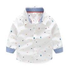 Brand Children Boys Shirts 2016 Spring Autumn Kids Gentleman Formal Blue White Long Sleeved Cotton Tops&Shirts for Boy Clothing