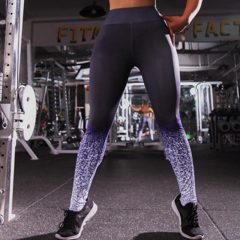 09ee17d19 Leggings de Fitness para mujer pantalones de entrenamiento de estampado  Casual pantalones elásticos pantalones de gradiente Leggins flacos góticos  ...