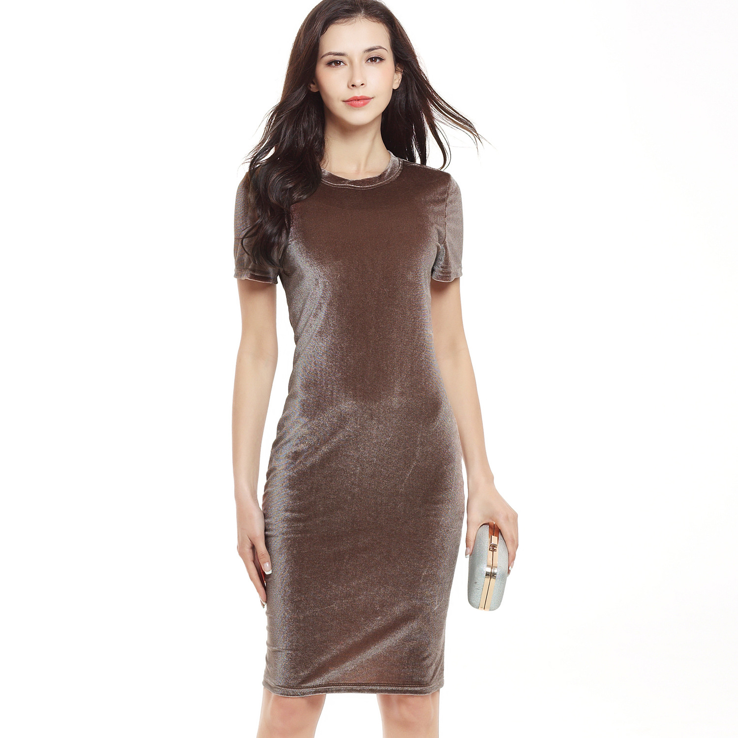 Suvance Velvet Sexy Round-neck Short Sleeves Solid Color Pencil Women's Dress