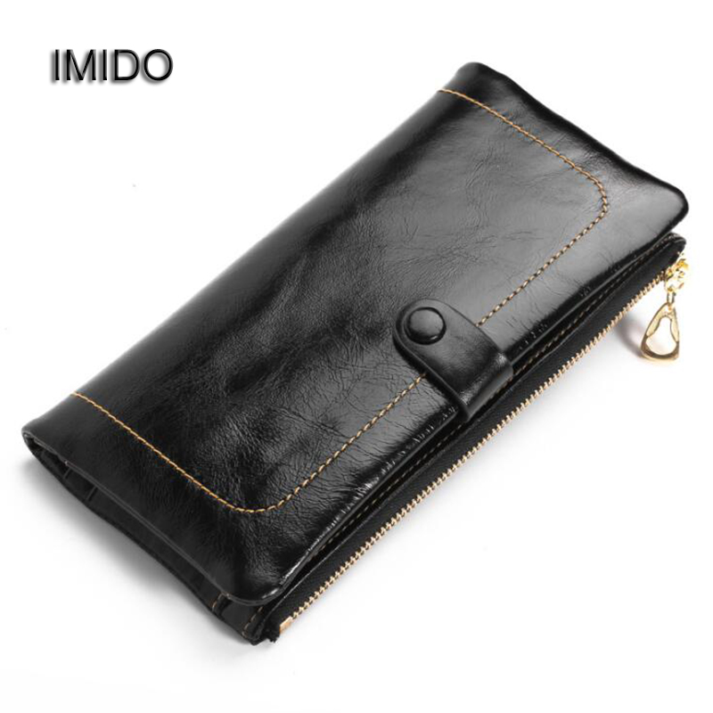 IMIDO Women Wallets Genuine Leather Oil Wax Long Ladies Coin Purse Card Holder Phone Case Clutch Wallet Female Brown Black WT030 candy leather clutch bag women long wallets famous brands ladies coin purse wallet female card phone holders carteira feminina