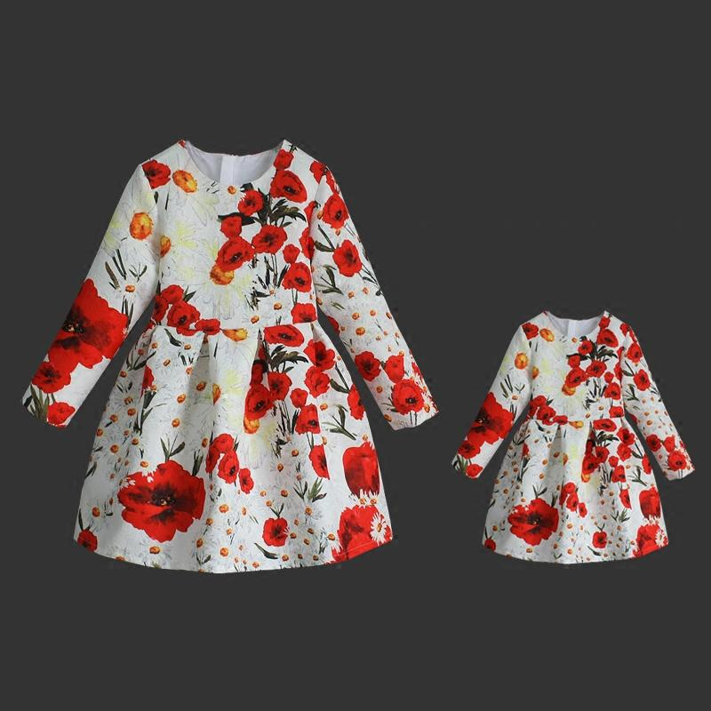 Spring floral prints kids piece set dresss mom baby long pleated skirts family look clothes mother and daughter matching dresses family matching outfits kids girls and mom clothes floral print dress mom girls pleated party skirts mother and daughter dresses