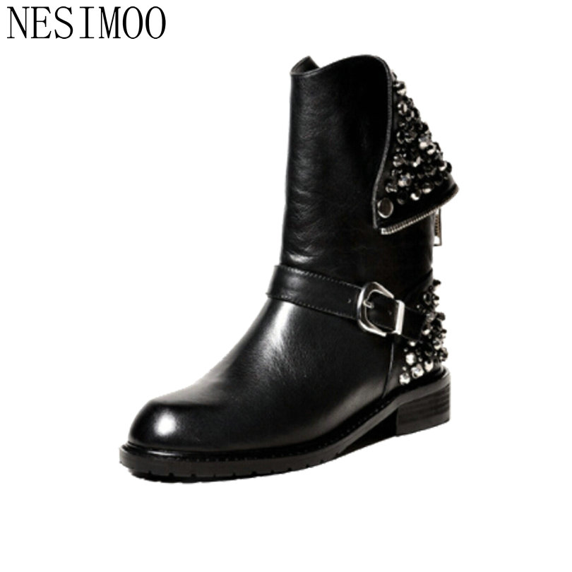 NESIMOO Size 34-43 Punk Rhinestone PU+Leather Square Low Heel Woman PU leather Ankle Boots Women Shoes Ladies Motorcycle Boot vinlle women boot square low heel pu leather rivets zipper solid ankle boots western style round lady motorcycle boot size 34 43