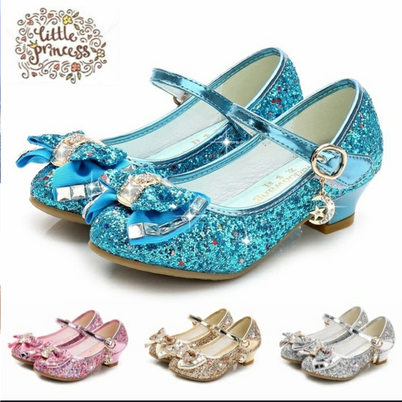 Butterfly Children Princess Shoes Girls Bowtie Candy Color Hight Heels Slip On Party Dance Sandals For Baby Girls Kids