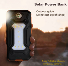 Solar Replacement Battery Phones Dual USB Replacement Batteries 20000 mAh Waterproof Power Bank  External Portable LED Compasses