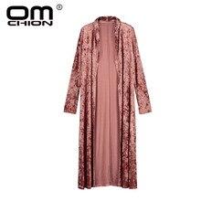 OMCHION Blusas Mujer 2018 New Long Sleeve Velvet Kimono Cardigan Women Casual Summer Blouse Fashion Long Kimono Jacket QS381