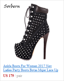 Sorbern Lockable Hoof Heelless Fetish Pinup Boots Women Custom Wide Fit Calf Boots Females Lace-up Zippered Big Size Shoes 2019