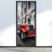 Car Retro European 3D Stickers Door DIY Mural Bedroom Home Decor Poster PVC Waterproof Door Sticker(China)