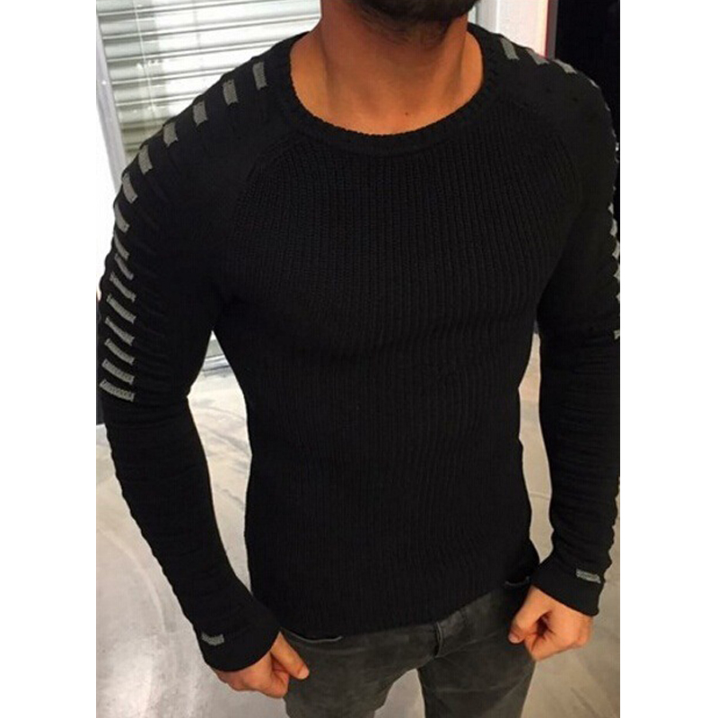 Dropshipping Men Casual Warm Slim Sweater Knitted Striped Long Sleeve Winter Patchwork Pullover Male Elastic Solid Sexy Tops