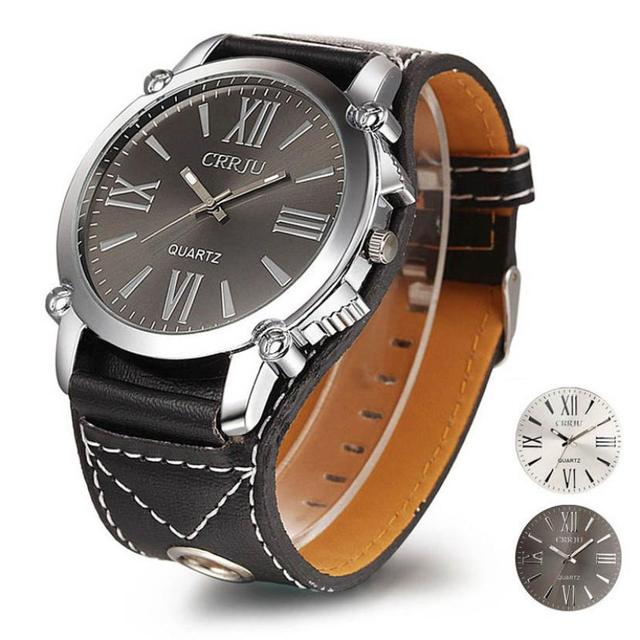 1PC Luxury Brand Mens Analog Roman Big Dial Quartz Sport Leather Wrist Watch Cas