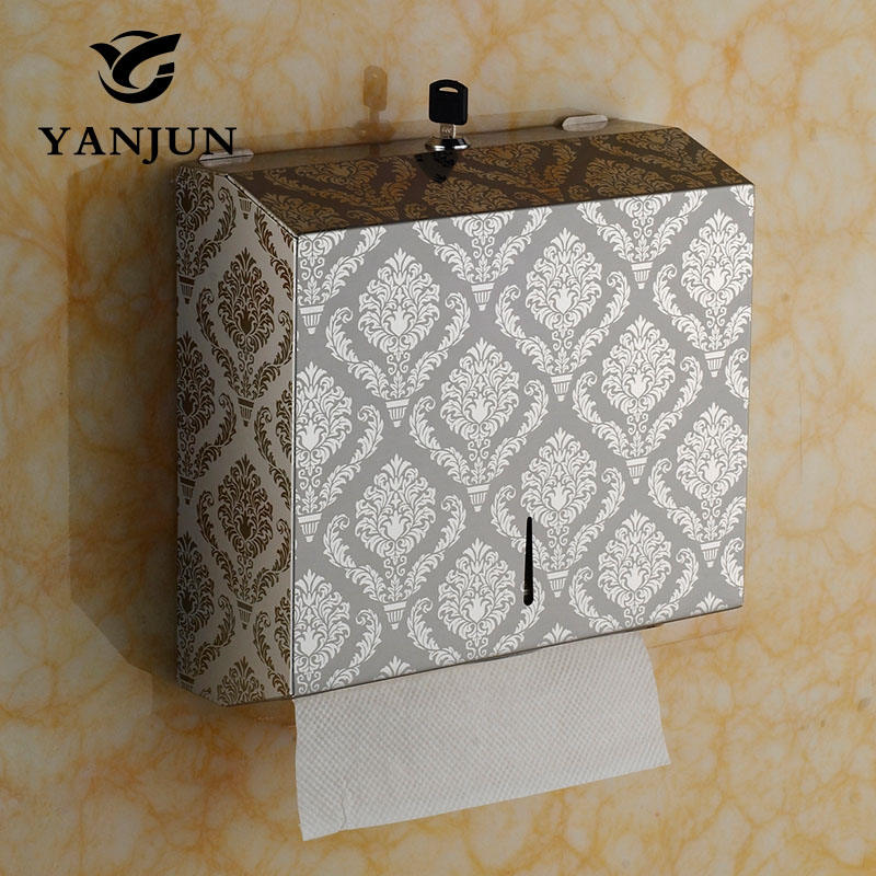 Yanjun Stainless Steel Tissue Dispenser Tissue Box Holder C-Fold Tissue D Paper Towel Bathroom accessory Wall Mount YJ-8673 creative smily towel tissue plastic tube box holder blue white