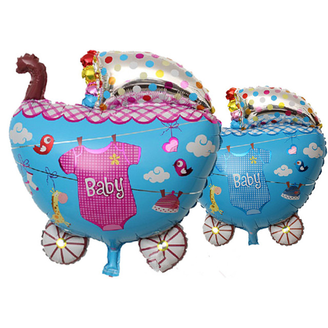 Lovely Baby Carriage Helium Foil Balloons Children Birthday Baby