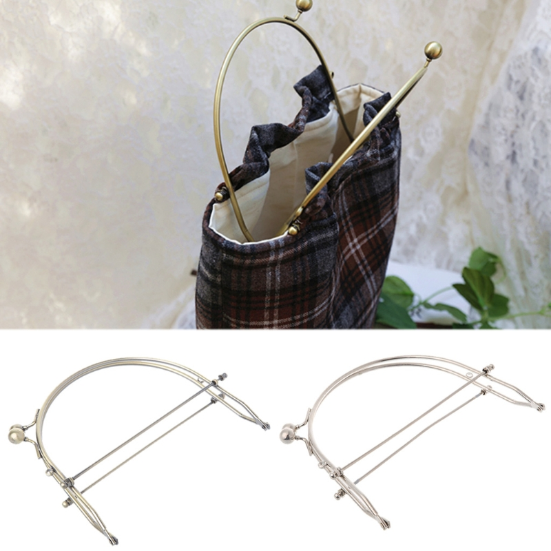 Fashion New 1 Pc Metal Half Round Frame Kiss Clasps Lock Purse Bag Handbag Handle Clutch Bag Accessories