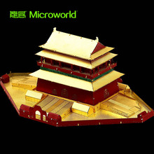 MICROWORLD 3D Metal Puzzle Beijing Drum Tower Adult Manual Ancient Building Model Collection Educational Gifts