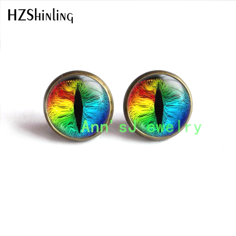 HZ4-00401 Dragon Eardrops Stud Earrings Dragon Stud Earings Dragon Eye Earrings Mens Stud Rainbow Eye Jewlery Dragon Eye Tiny