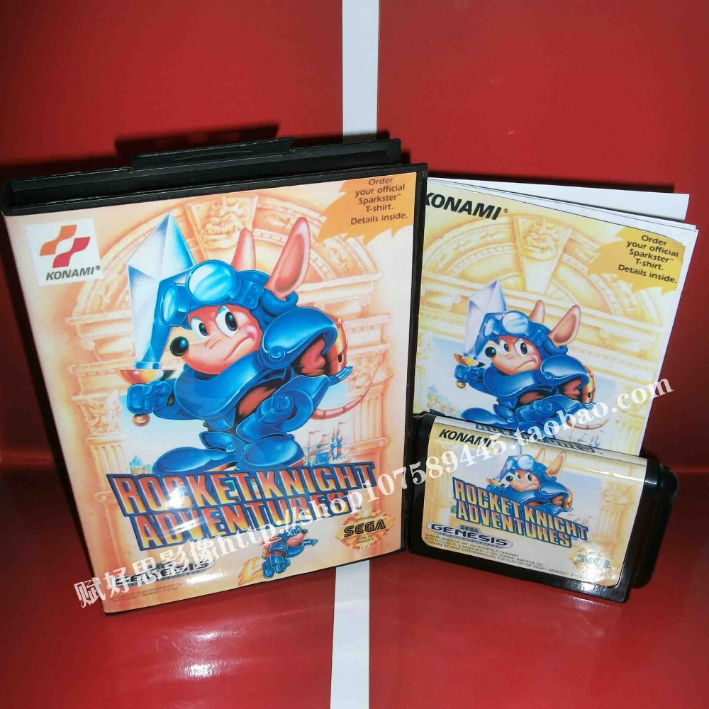 Sega MD game - Rocket knight adventures with Box and Manual for 16 bit Sega MD game Cartridge Megadrive Genesis system