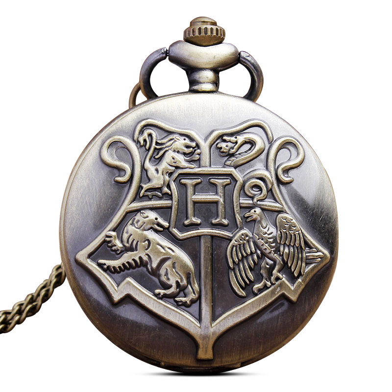 Retro Quartz Pocket Watch Necklace Chain Pendant Magic Hogwarts Harry Fob Watches Gifts Relogio De Bols