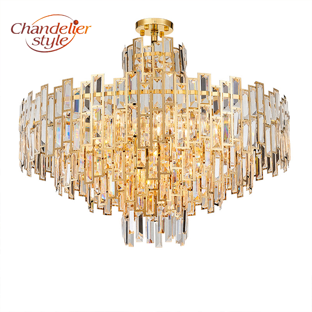 Modern Crystal Chandelier Lighting Fixture Luxury LED Chandeliers Hanging Light for Home Living Dining Room Decoration led crystal chandeliers lamp round ring hanging lights modern led crystal chandelier fixture for living room lobby ac110v 240v