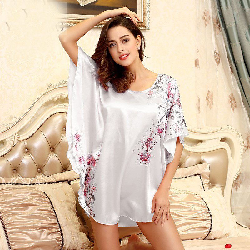 Top Sale   Nightgowns     Sleepshirts   Satin Silk home Bathrobe female Women Sleepwear Dressing Gown Floral Gown 010625