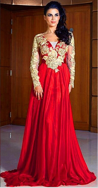 Robe de Soiree 2015 Free Shipping Vestido Longo Renda Long Sleeve Evening Dress Gowns