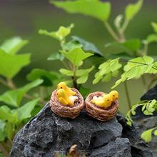 10 шт. миниатюрная фигурка птицы, крошечные птицы на гнезде, сказочные Садовые принадлежности украшения для террариума фигурки животных