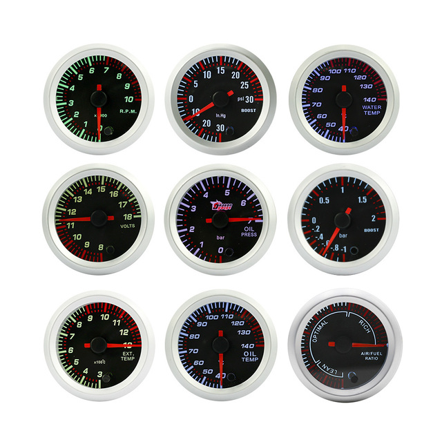 "2"" 52mm Tinted 7 Color Electrical Boost ,Water temp,Oil temp,Oil press,Voltmeter,EGT ,Air Fuel ,Tachometer Gauge/Car meter"