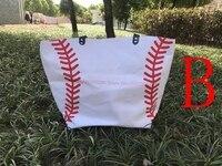 20 шт. спортивная сумка заготовки хлопок холст сумка для женщин мужчин монограмма Бейсбол Футбол сумки летней вечеринки подарок