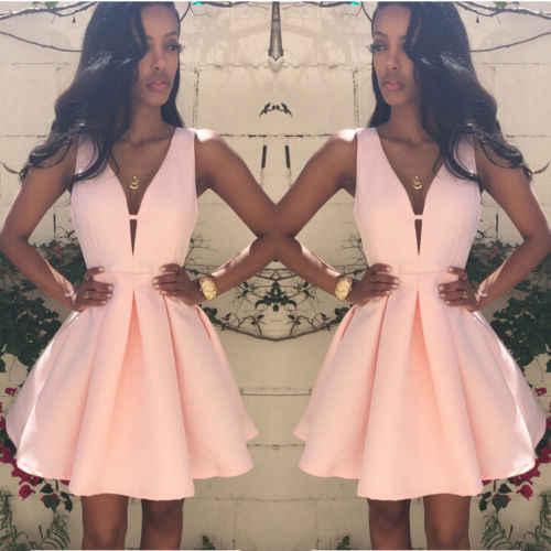 Élégant femmes col en v profond sans manches taille haute a-ligne robe courte dame décontracté Club balle partie élégante Noble robe S-XL