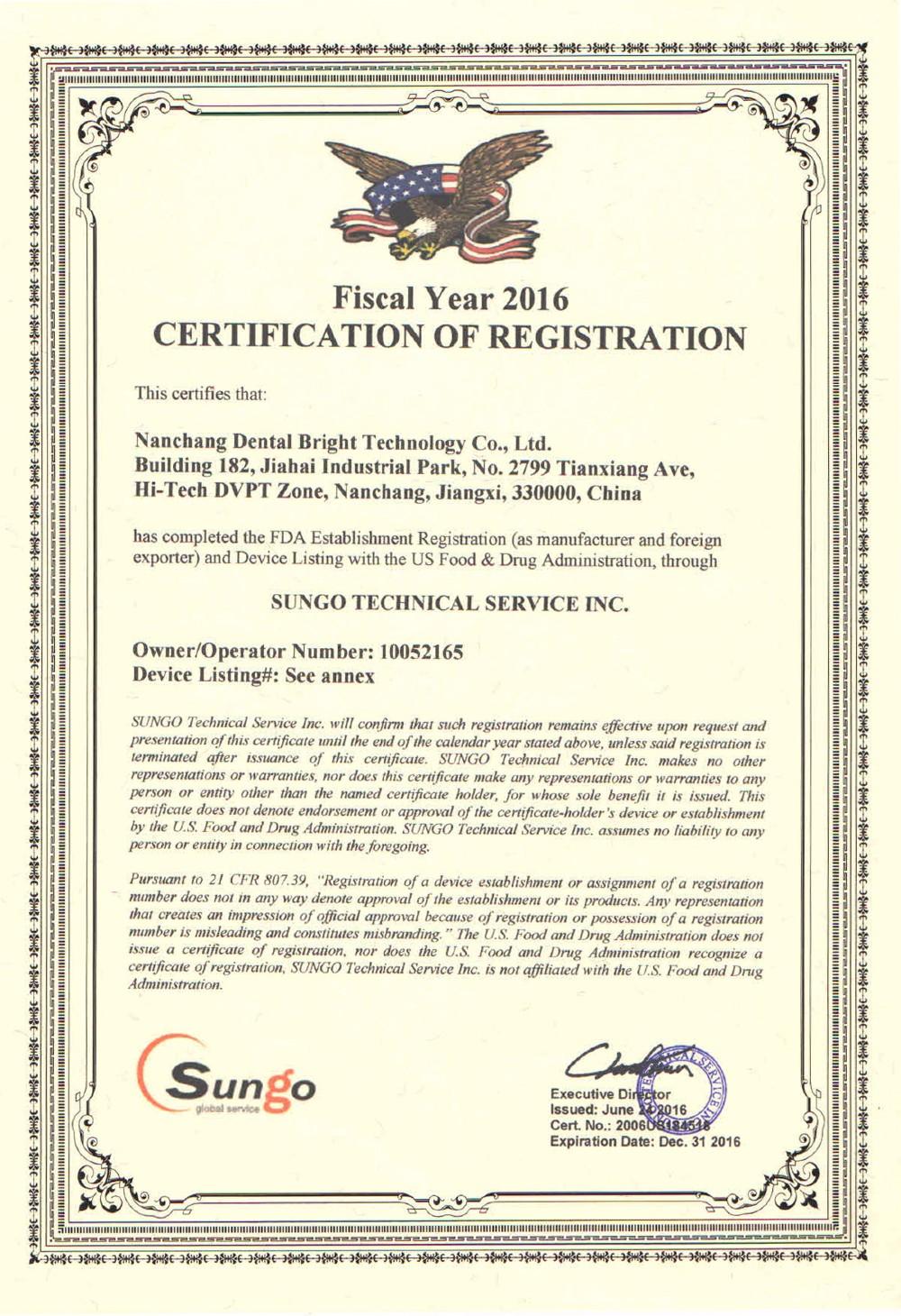 FDA Certification of Registration-1