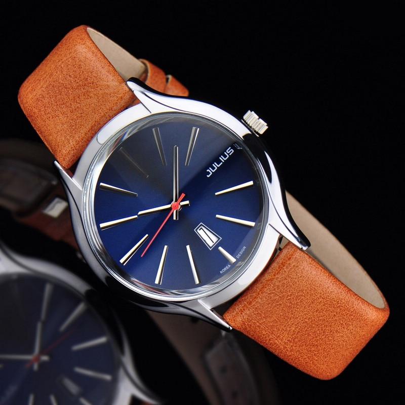 Auto Date Mens Watch Japan Quartz Hours Fine Fashion Dress Bracelet Leather Bussiness Clock Boy Birthday Gift Julius  632
