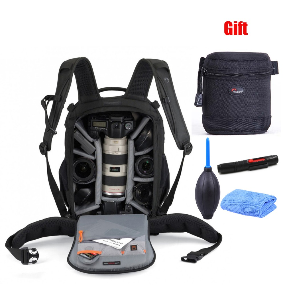 Genuine Lowepro Flipside 400 AW +9x9cm lens bag +Camera Cleaning kit Photo Backpacks Digital SLR+ ALL Weather Cover free shipping gopro black genuine lowepro flipside 400 aw digital slr camera photo bag backpacks all weather cover wholesale