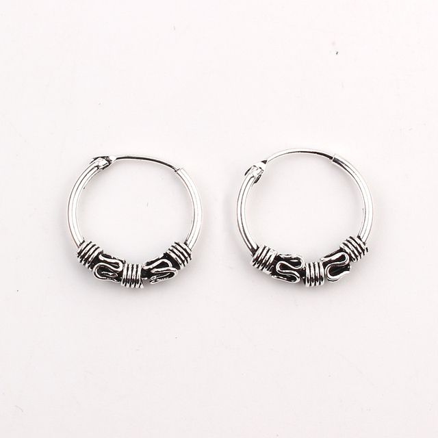 Gypsy Tribal Hippie Endless Hoop Earrings Handmade Indian Totem Vintage Silver Color Small Circle Earring For