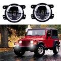 30w Motorcycle Led 4'' inch fog light projector lens halo led 4'' round headlight fog lamp DRL For Harly Jeep Wrangler Jk Harley