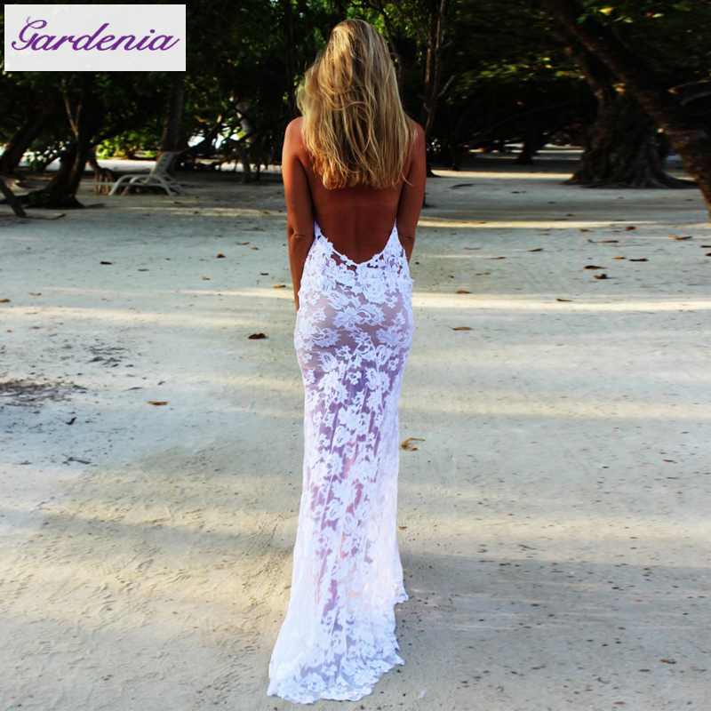 Stunning Lace Wedding Dress Summer Beach Halter Neck Sleeveless Low ...