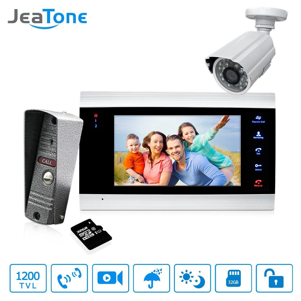 7 ''Telefone Video Da Porta Campainha Intercom Com Câmera Ao Ar Livre & 32 1200TVL g Cartão IP65 Sistema de Interfone Do Telefone Da Porta detecção de movimento
