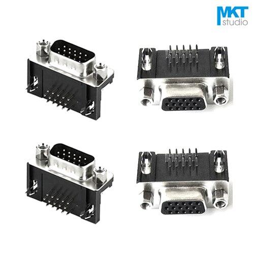5pcs DB15 VGA D-SUB Angled 15 Pin 2 Rows Male PCB Mount Socket Solder Connector