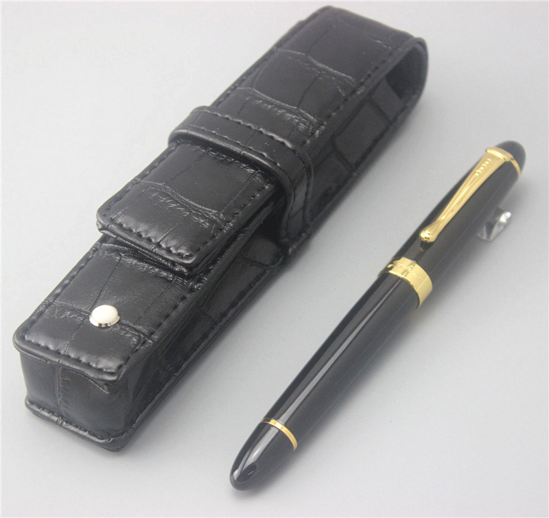 black JINHAO ballpoint Pen and pen bag School Office Stationery luxury roller ball pens men women send a refill 010 gel roller ball pen black or chrome silver to choose baoer 3035 office and school signature pens free shipping