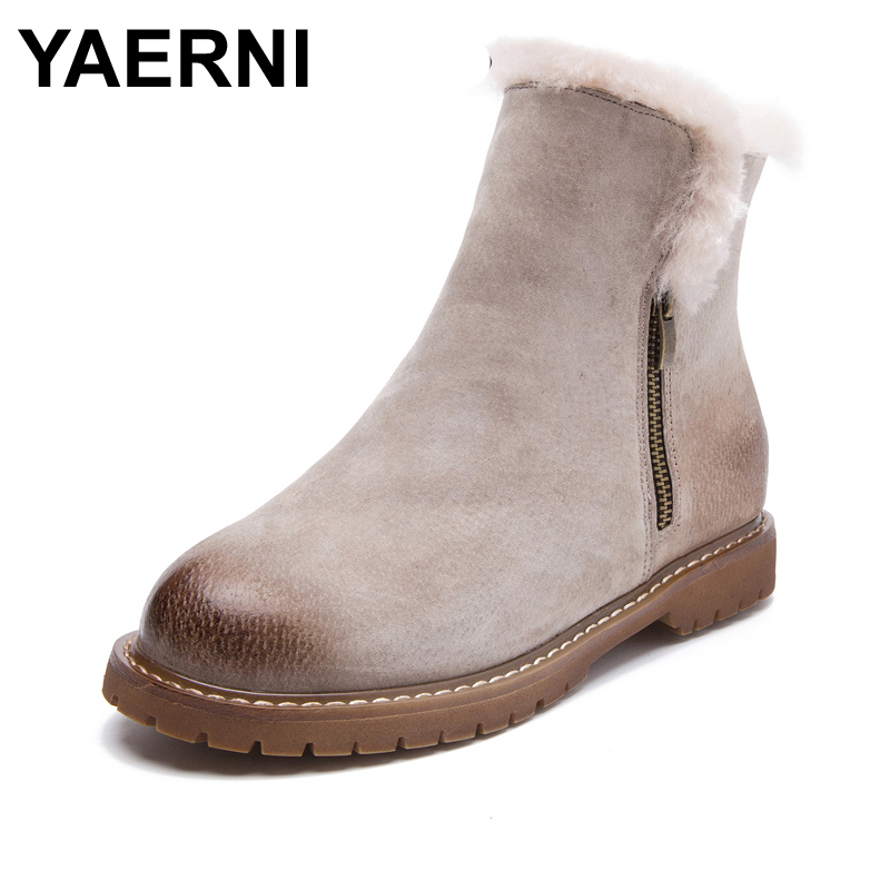 YAERNI Women Winter Boots New Arrival Genuine Leather Snow Boots Pig Suede Plush Cashmere Warm Ankle Boots Casual Flats Shoes muhuisen winter men genuine leather shoes fashion casual plush warm boots lace up flats male snow boots fur inside comfort