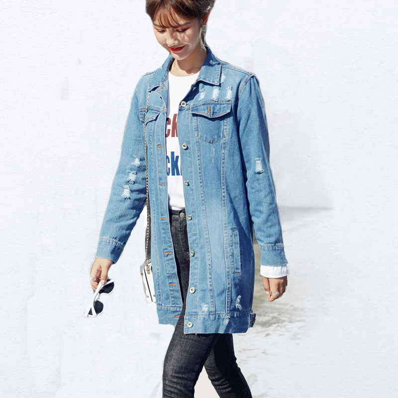 Autumn 2018 Winter   jacket   Women outwear & coats female hole denim   jacket   Women Loose students Lapel   basic     jackets   Womens   jacket