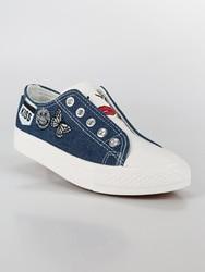 Płaskie buty slip on efekt dżinsy na
