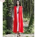 Breif Natural Vintage Long Linen Sleeveless Overcoat Vest Large Size Mori Girl Cardigan Jacket Vest